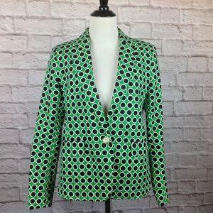Michael Kors Blazer Jacket 8 Green Black Polka Dot